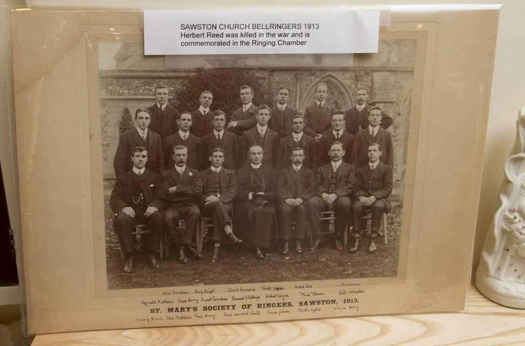 Photo pf Sawston bellringers, one of whom was killed in the war