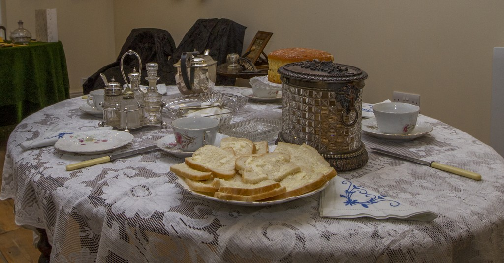 The table laid for tea in Mary Challis's parlour